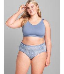 lane bryant women's cotton high-leg brief panty 30/32 heathered lace