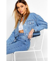 crop jean jacket, mid blue