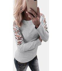 grey hollow diseño camiseta de manga larga criss-cross detials