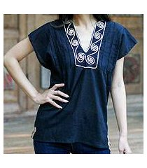 cotton blouse, 'ebony melody' (thailand)