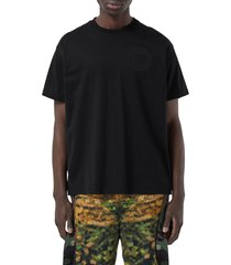 burberry ronin logo embroidered oversize organic cotton t-shirt, size small in black at nordstrom