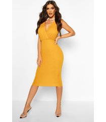 gathered wrap top bodycon midi dress, mustard