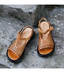 sandali in pelle con cerniera cava traspirante