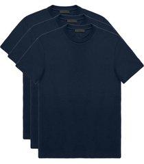 prada conjunto de três camisetas básicas - azul