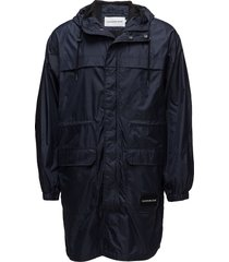 mid length hooded nylon parka parka jacka svart calvin klein jeans