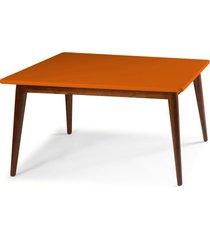 mesa de madeira retangular 140x90 cm novita 609 cacau/laranja novo - maxima