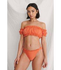 curated styles återvunnen bikinitopp med fransdetalj - orange