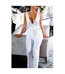 sexy v-halter jumpsuit met riem wit