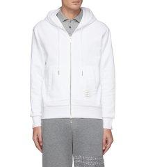 back tricolour stripe cotton zip-up hoodie