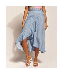 saia jeans feminina emi beachwear midi transpassada com babado azul médio