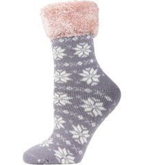snowflake fairisle plush women's cabin socks