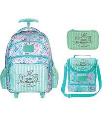 kit mochila com rodinhas marie disney + lancheira e estojo
