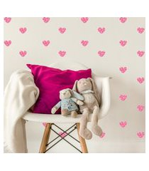 adesivo de parede quartinhos infantil coraçáo rosa poá bolinhas