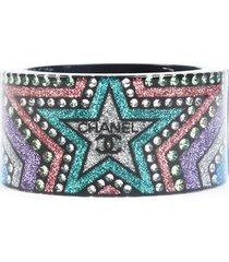 chanel multicolor glitter star rhinestone cc cuff bracelet black/multicolor/logo sz: