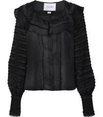 alexis paneled ruffled blouse - black