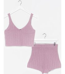 womens just the two of us knit top and shorts lounge set - lilac