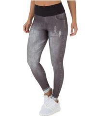 calça legging live jeans black - feminina - cinza escuro