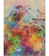 "michael tompsett cape town south africa city street watercolor map canvas art - 15"" x 20"""