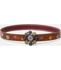 belt embroidered balls plaque - brown - 90