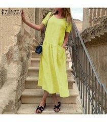 zanzea vestido a media pierna de lino caftán de lino casual de verano para mujer -amarillo