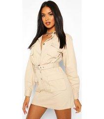 utility pocket belted cotton twill dress, ecru