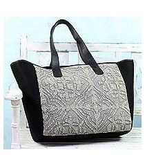 leather accent cotton tote bag, 'traditional flair' (india)