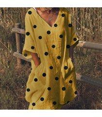 zanzea mujeres escotadas del lunar de verano mini vestido flojo holiday beach camisa de vestir -amarillo