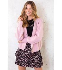 gebreid vest met knopen roze