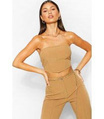 tailored seam detail bandeau top, camel