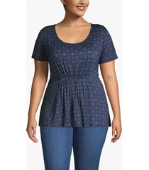 lane bryant women's ruched-waist tee 22/24 blue print