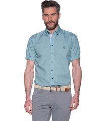 campbell campbell casual shirt met korte mouwen groen