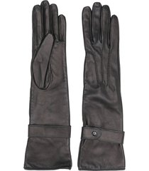 manokhi textured style buttoned gloves - black