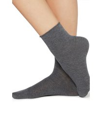 calzedonia light cotton socks with comfort cuff woman dark grey size 36-38
