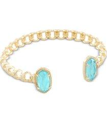 kendra scott 14k gold-plated crystal link cuff bracelet