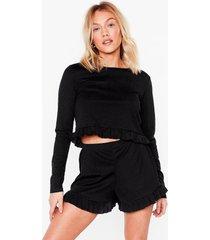 womens you frill be missed petite pajama shorts set - black