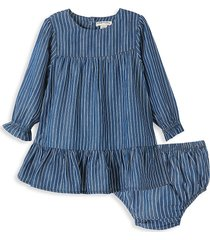 habitual baby girl's briellah tiered dress & diaper cover set - indigo - size 24 months