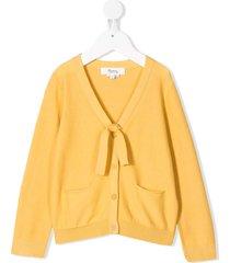 bonpoint tie front cardigan - yellow