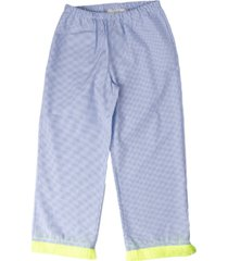 touriste pants with fluo fringes fant micro blue polka dots