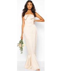 bridesmaid satin bow front fishtail maxi dress, champagne