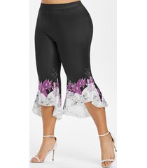 high low hem floral capri plus size flare pants