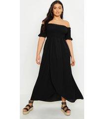 plus off shoulder maxi dress, black