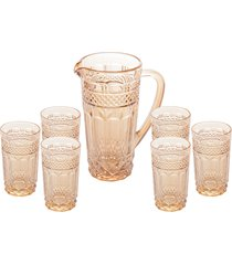 conjunto 6 copos 215ml com jarra 1l vidro brand âmbar