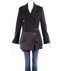 proenza schouler black gray wool silk zip blazer jacket black/gray sz: l