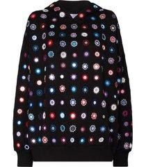 ashish mirror-detail embroidered hoodie - black