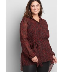 lane bryant women's button-front high-low belted tunic 20p black and red leaf print