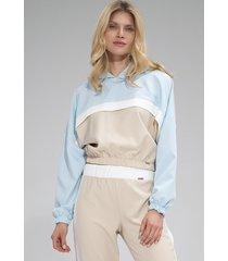 bluza m757 beż-niebieski