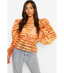 striped floral print organza top with keyhole back, orange