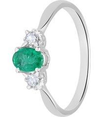anello in oro bianco, smeraldo 0,45 ct e diamanti 0,08 ct per donna