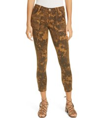 women's joie park leaf print skinny ankle pants, size 23 - brown
