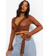korte mesh wikkel blouse, choc brown
